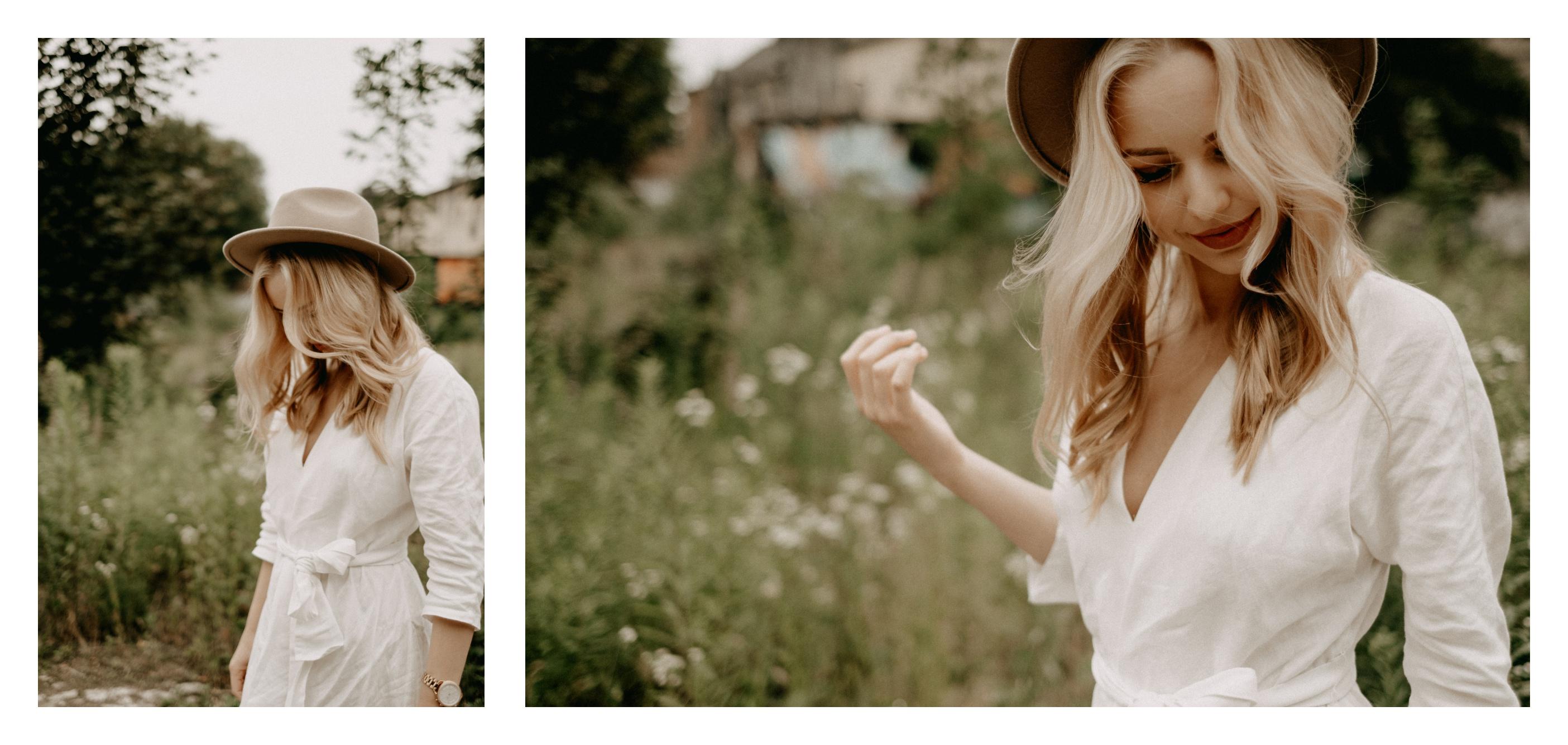 katowice, biała sukienka, włosy blond